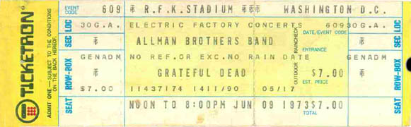 Ticket Stub - 6-9-73